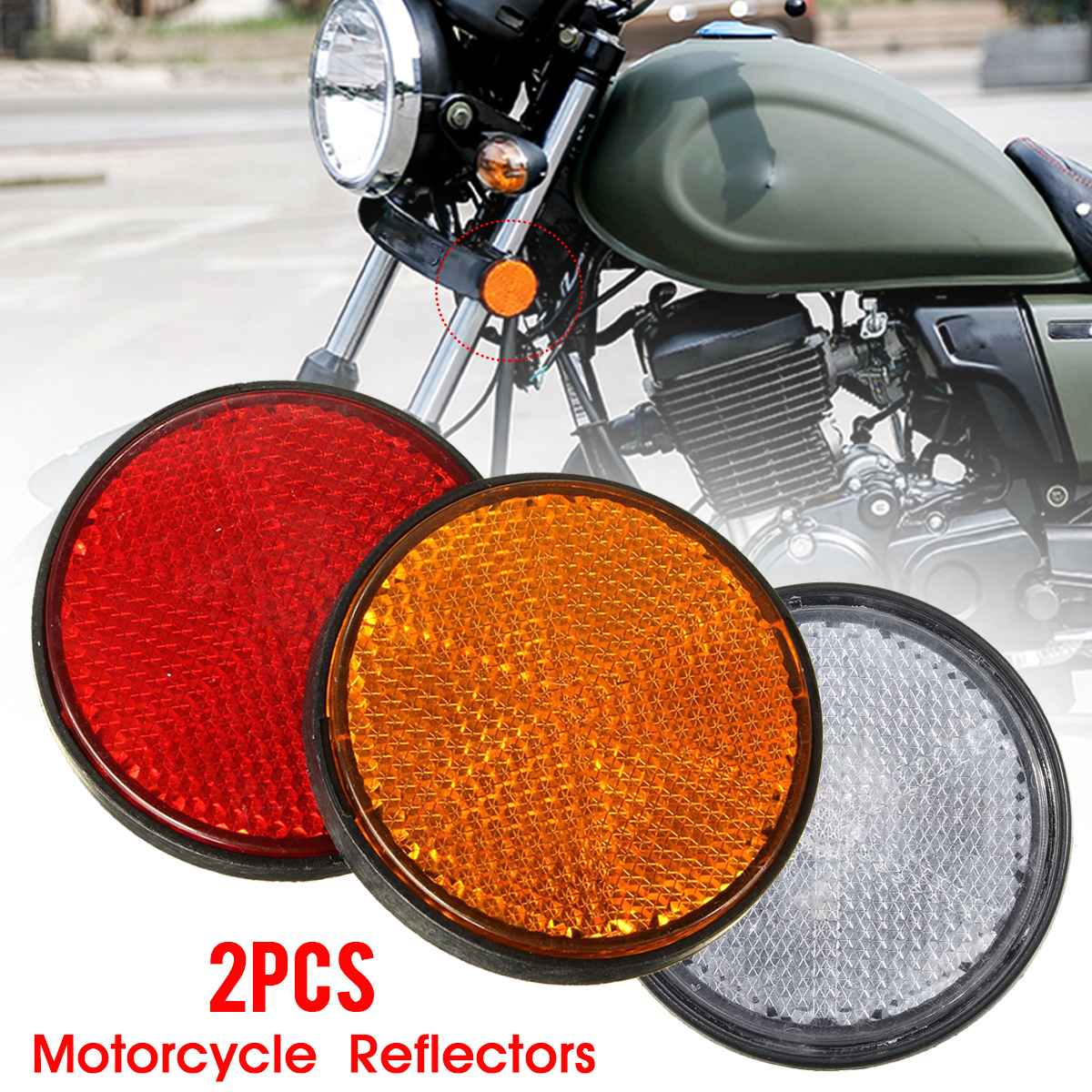 2x2 ''2 дюйма Универсальный мотоциклетный мотовездеход скутер кроссовые велосипеды болт номерной знак Круглый отражатель красный оранжевый