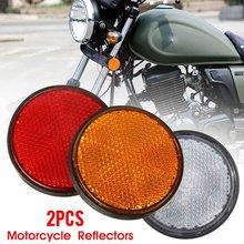 Parafuso número de placa redondo, 2x 2 ''2 Polegada motocicleta atv scooter bicicletas de sujeira refletor vermelho laranja