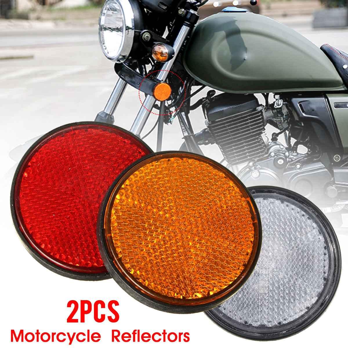 Parafuso número de placa redondo, 2x 2 2 Polegada motocicleta atv scooter bicicletas de sujeira refletor vermelho laranja