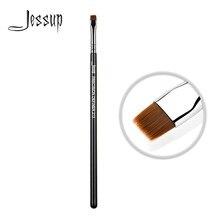 Jessup pincel de maquiagem, pincel delineador de cabelo sintético de precisão, pincel de maquiagem plana, sobrancelha, alça de madeira