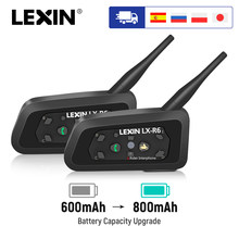 Lexin Motorfiets Bluetooth Helm Headsets Intercom Voor 2 Rijders Bt Draadloze 1200M Intercomunicador Handsfree Interphone(China)