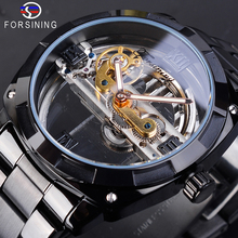 Forsining Transparent Black Mechanical Mens Watches Automatic Skeleton Sports Dress Stainless Steel Band Male Relogio Masculino