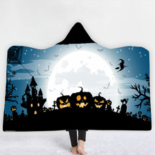 Halloween Series Hooded Blanket 3D Printed Sherpa Fleece Plush For Adults And Childs Warm Throw Home Sofa