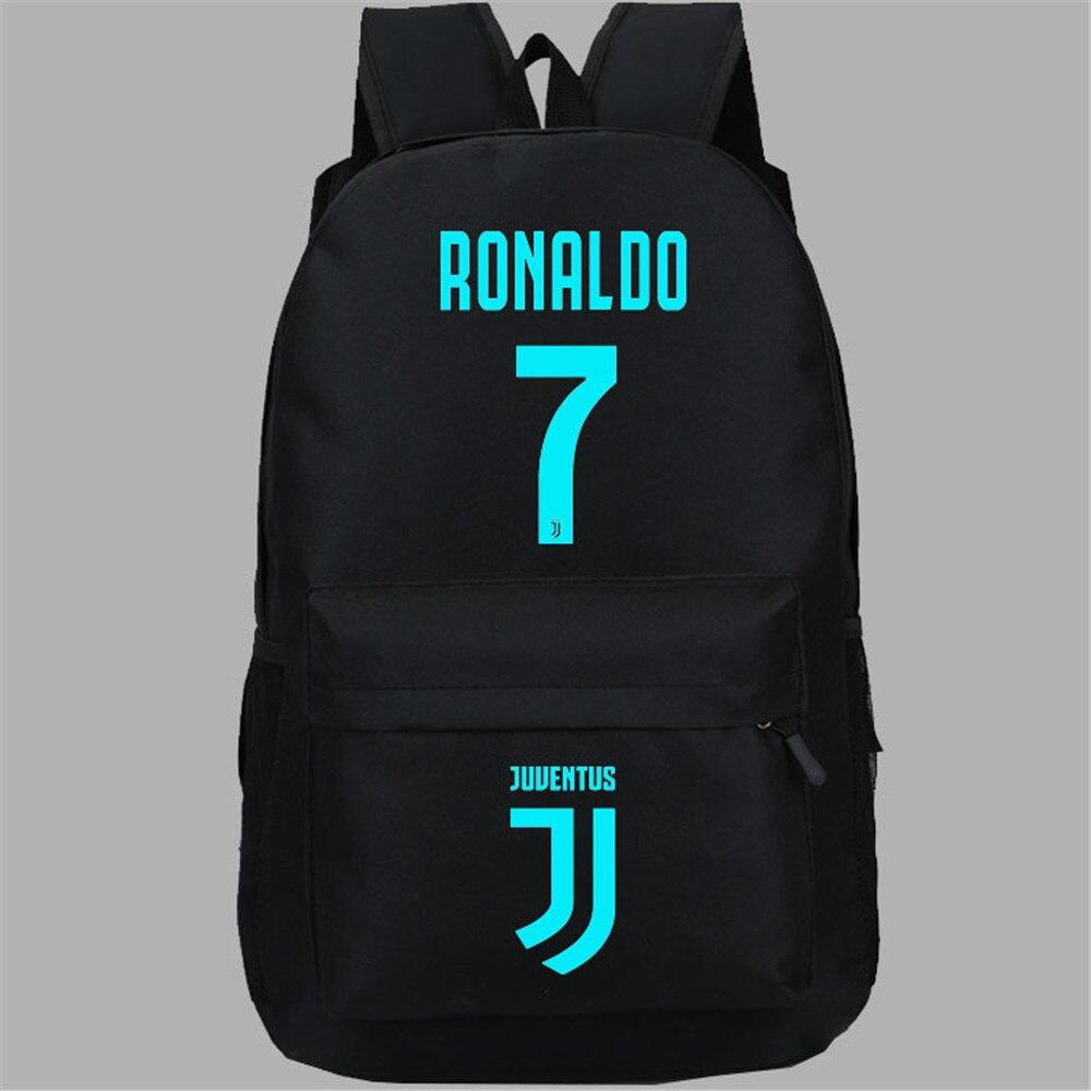 Homme sac à dos Cristiano Ronaldo nuit lumineuse imprimé Cartoon sacs d'école sac à dos livre épaule bandoulière sac à dos