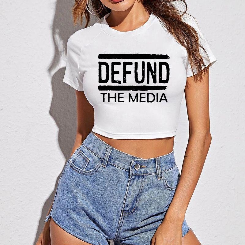 [해외] DEFUND THE MEDIA 자르기 탑 T 셔츠 여성 2021 SUMMER TOP 하라주쿠 O 넥 반소매 - DEFUND THE MEDIA 자르기