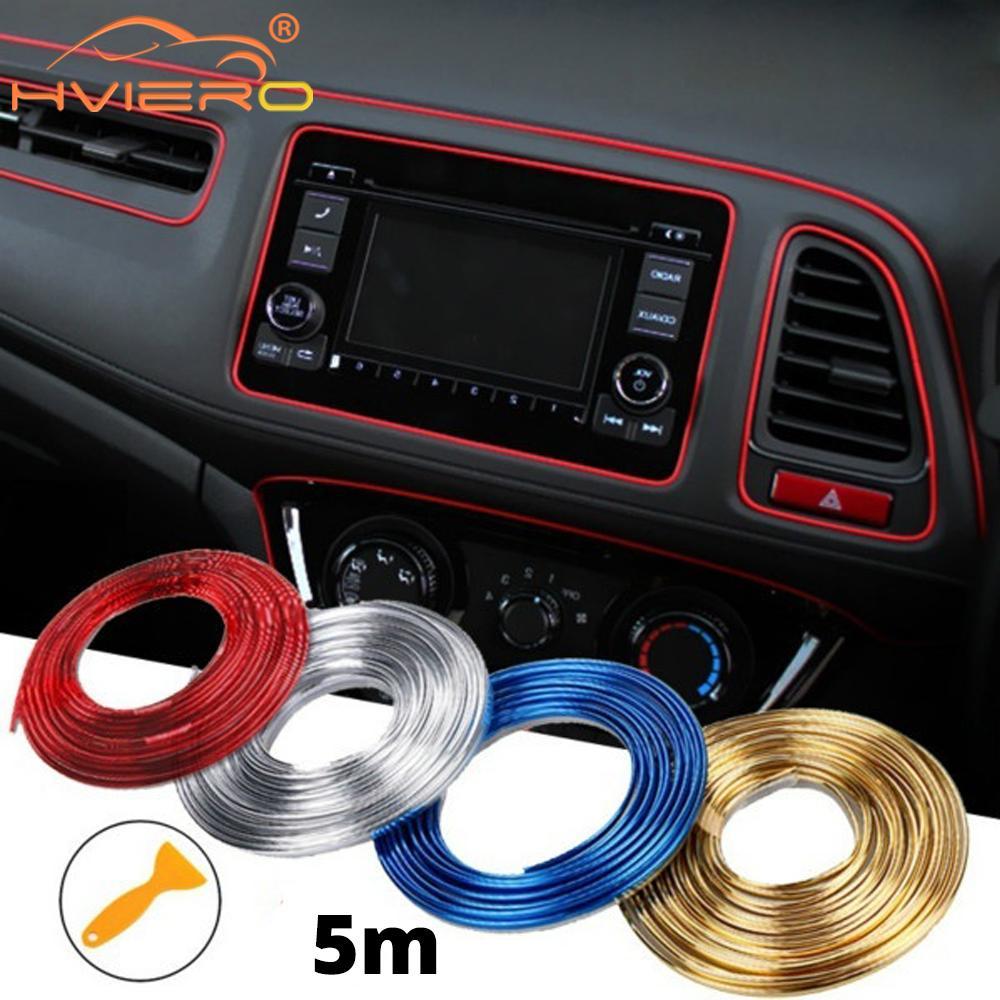 Tiras adhesivas de 5M para decoración de Interior de coche, luces de puerta de coches, Panel de ventilación de aire, dirección, rueda Flexible, respaldo de asiento de coche