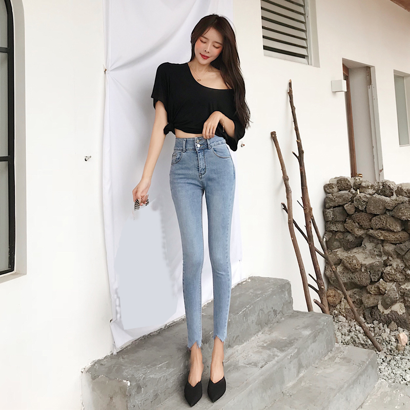 Pengpious retro wash cotton elastic femal jeans high waist pencil denim pants frayed hem