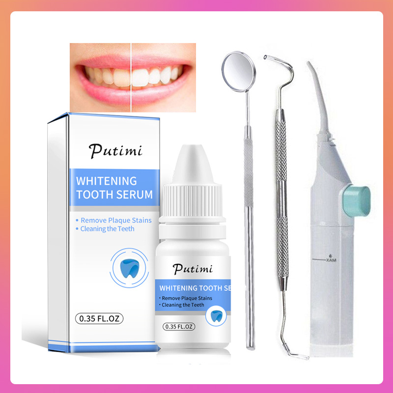 Oral Hygiene Teeth Whitening Cleaning Serum Removes Plaque Stains Stainless Dental Tools Kit Teeth Tartar Scraper Mouth Mirror