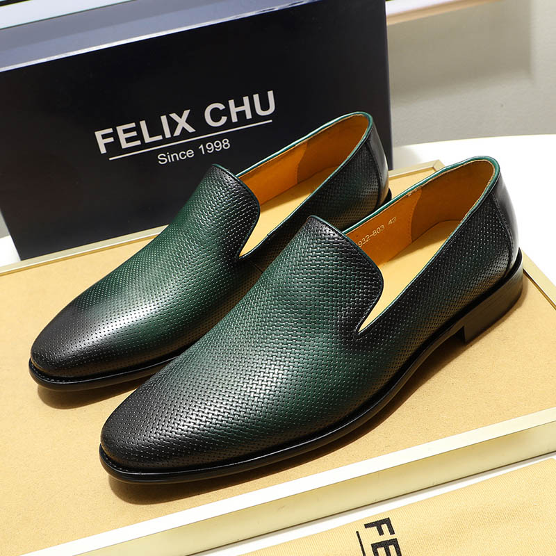 FELIX CHU Italian Mens Loafers Leather Black Green Casual Dress Shoes Slip On Genuine Leather Wedding Party Formal Suit Shoe Men
