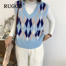 RUGOD Knitted women sweater tank Korean V neck sleeveless auturm pullover Fashion Printed loose college student coat and sweater цена и фото