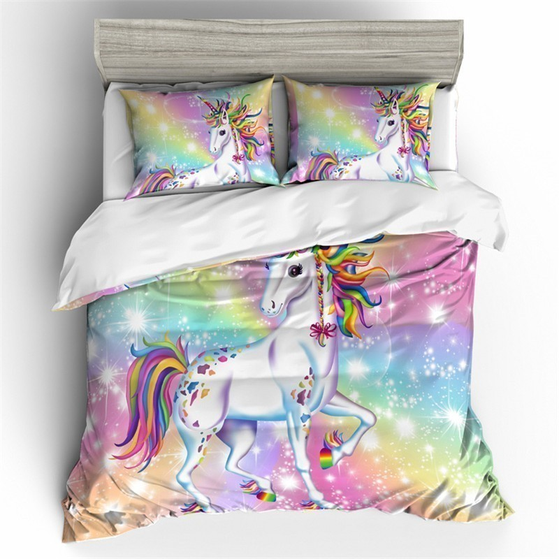 Cartoon Unicorn Rainbow Colors 3D Bedding Set Funny Printed Duvet Cover Set Pillowcases Queen King Twin Size Home Textile - 5