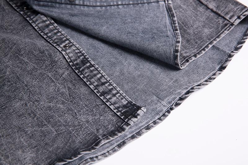 Men Denim Short Sleeve Soft Cotton Elastic Jeans Shirt Men Men's Clothings Men's Shirts Men's Tops