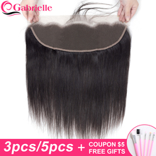 Gabrielle Brazilian Straight Ear to Ear 13x4 Lace Frontal 3/5 pcs/lot Remy Human Hair Lace Frontal Closure Pre plucked baby hair