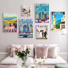 France Couple in Love Paris Travel Canvas Paintings Vintage Pictures Posters Retro Farm House Wall Picture Home Decoration Gift