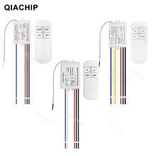 Qiachip 1/2/3 vias relé ac 220v rf remoto digital sem fio interruptor de controle remoto ventilador teto painel interruptor de controle para lâmpada