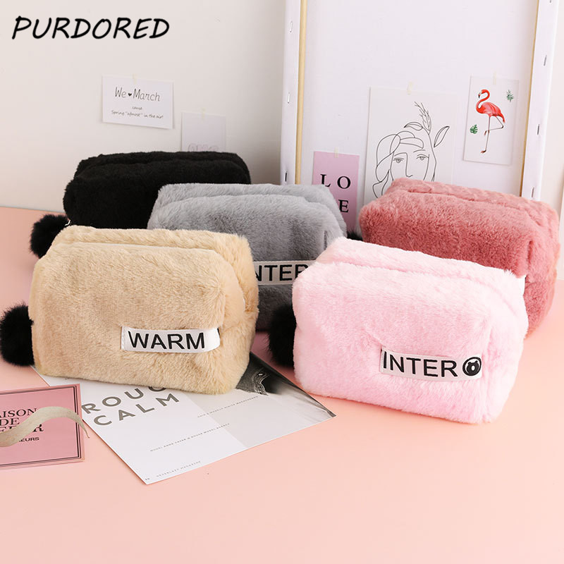 PURDORED 1 Pc  Winter Fur Cosmetic Bag Soft Plush Cosmetic Bag Travel Zipper Pouch Storage Organizer With Fur Ball Kosmetyczka