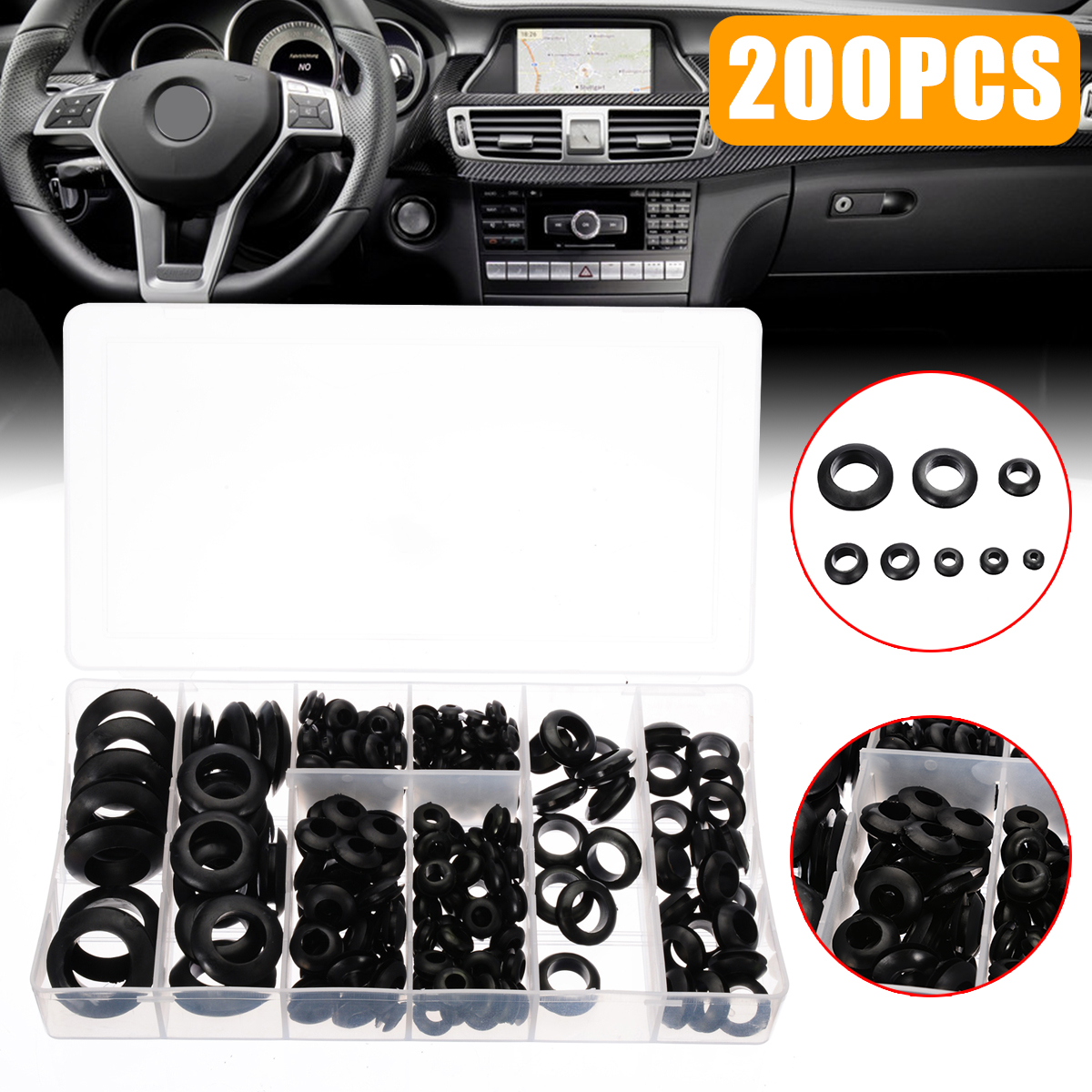 Mayitr 200pcs Rubber Grommet Assortment Set Black Electrical Wire Gasket Kit With A PVC Storage Case
