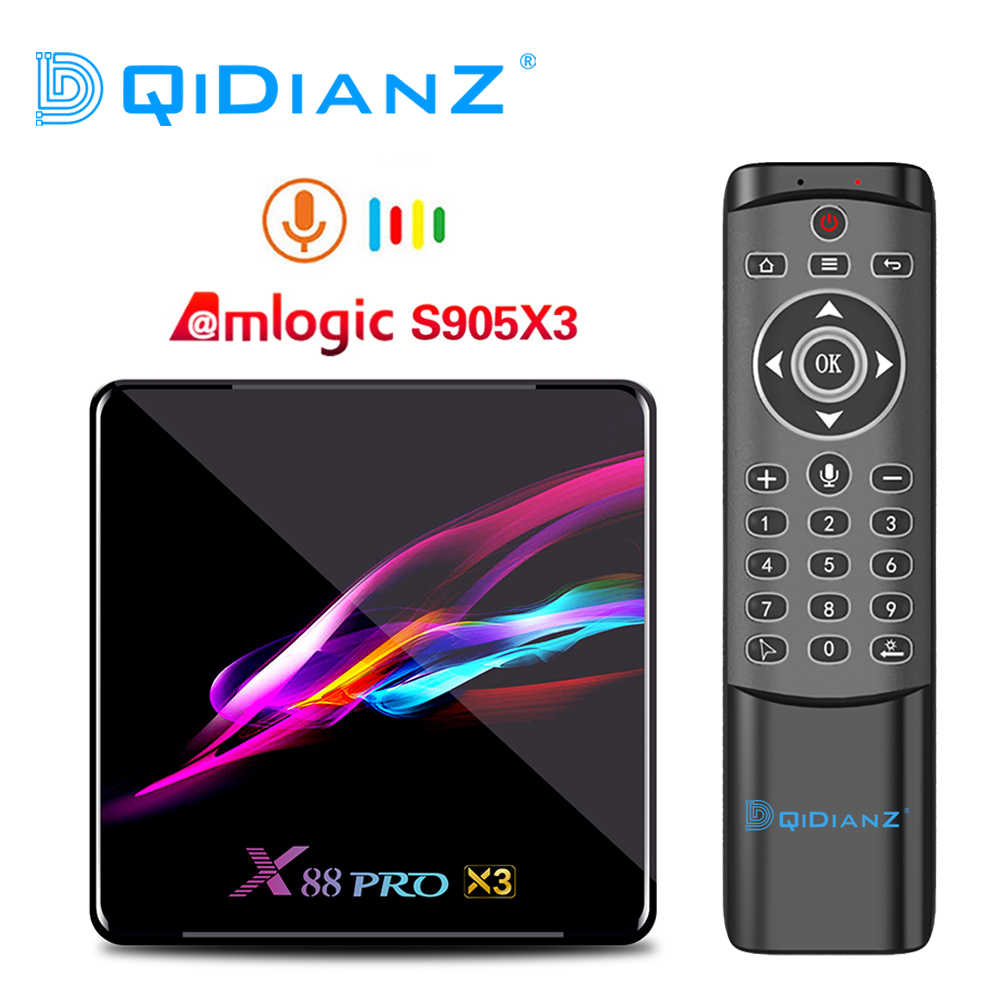 X88 PRO Amlogic S905X3 Android 9.0 TV Box 4GB 128GB 8K Quad-core 1080p Google assistente vocale Set top Box PK X96AIR H96 MAX X3