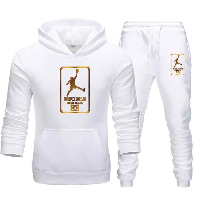 新メンズパーカースーツジョーダン 23 トラックスーツスウェットシャツのスーツフリースパーカ + 汗パンツジョギングオムプルオーバー 3XLスポーツスーツ男性
