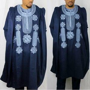 Image 2 - H & DแอฟริกันชุดสำหรับชายRobeเสื้อกางเกงชุดยาวแขนเสื้อเย็บปักถักร้อยAgbadaเสื้อผ้าBoubou Africain Hommeแบบดั้งเดิมRobes