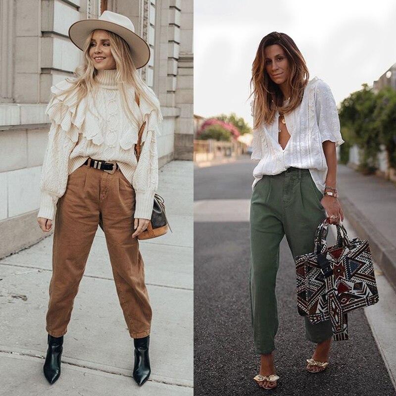 Aachoae Women Streetwear Pleated Mom Jeans High Waist Loose Slouchy Jeans Pockets Boyfriend Pants Casual Ladies Denim Trousers 8