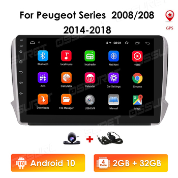 2G+32G Android 10 For PEUGEOT 2008 208 series 2012-2018 Auto 2 din Car Radio Stereo Player Bluetooth GPS No 2din dvd Mic USB SWC image