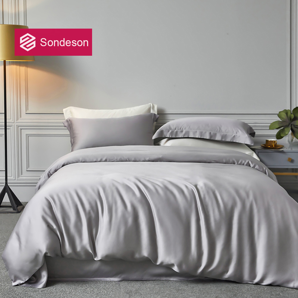 Sondeson Luxury 6A 100% Silk Gray Bedding Set 25 Momme Silk Healthy Duvet Cover Flat Sheet Pillowcase Queen King Quilt Cover
