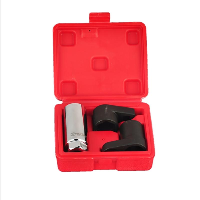 3Pc 22Mm Oxygen Vacuum Lambda Sensor Remove Socket Set Kit Thread Chasers Car Tools Repair Tool Chrome Vanadium Steel