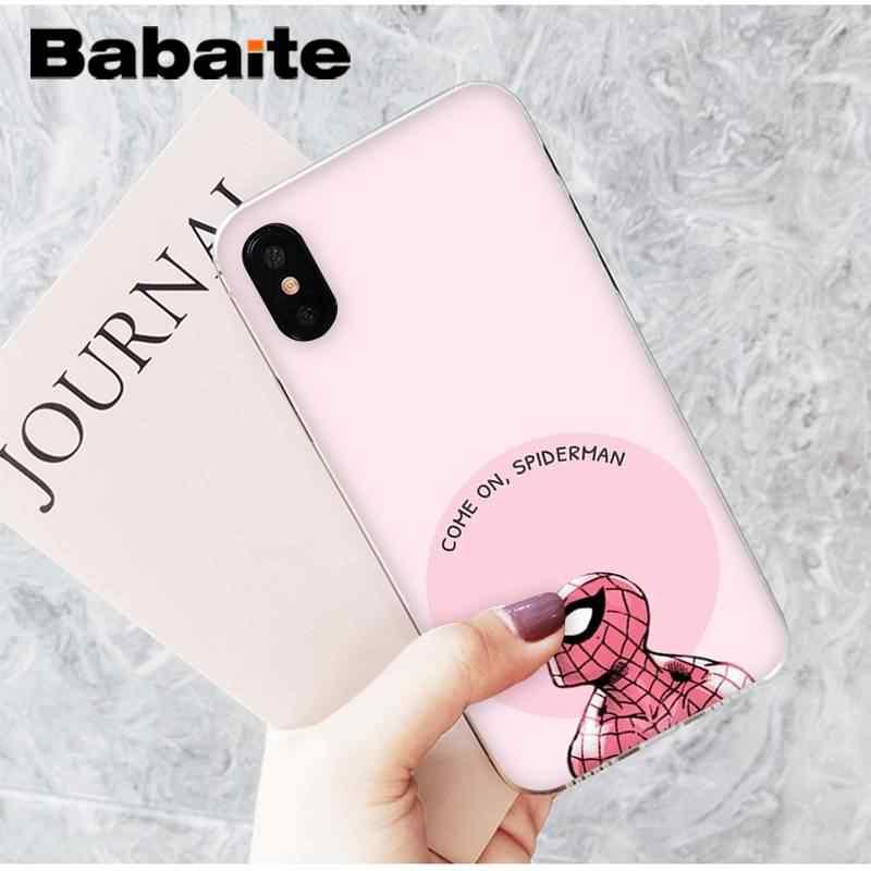 Babaite bonito spiderman diy pintado caso do telefone para o iphone 8 7 6 s plus x xs max 5 5S se xr 11 11pro 11promax capa móvel