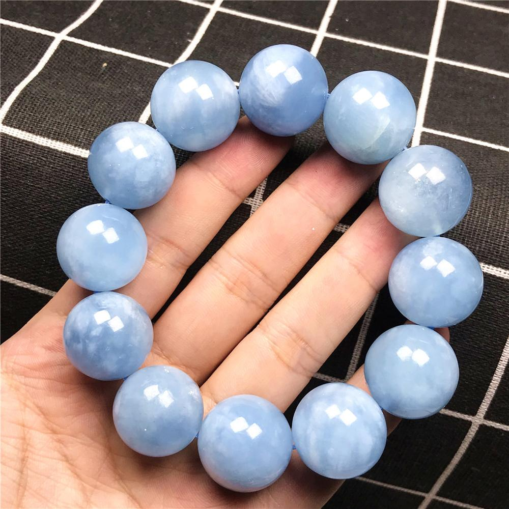 20mm Big Natural Ocean Blue Aquamarine Bracelet For Women Lady Man Lucky Crystal Loose Round Beads Gemstone Stretch Jewelry AAAA(China)
