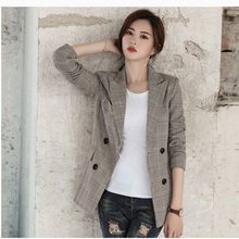 Ladies plaid suit jacket Korean version 2018 spring and autumn new casual retro chic check small