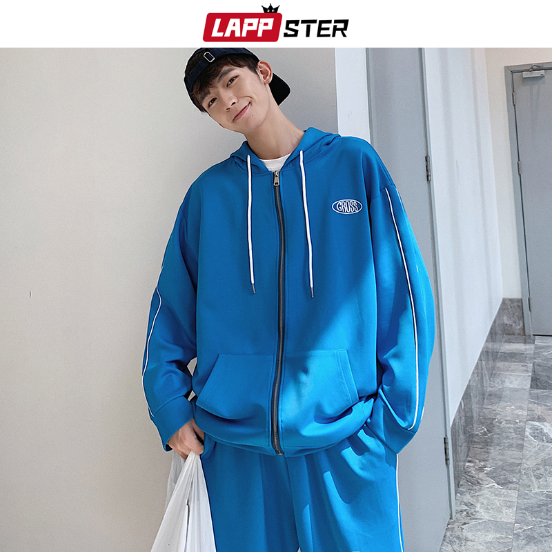 LAPPSTER Tracksuite Men Streeetwear Sweatsuit Fall 2019 Mens Fashions Pants Two Piece Set Male Side Striped Bomber Jacket Coats