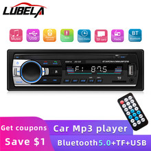LUEBLA 12V car radio 1 Din MP3 player with Bluetooth 60Wx4, FM digital stereo receiver, audio music USB/TF and In Dash AUX input