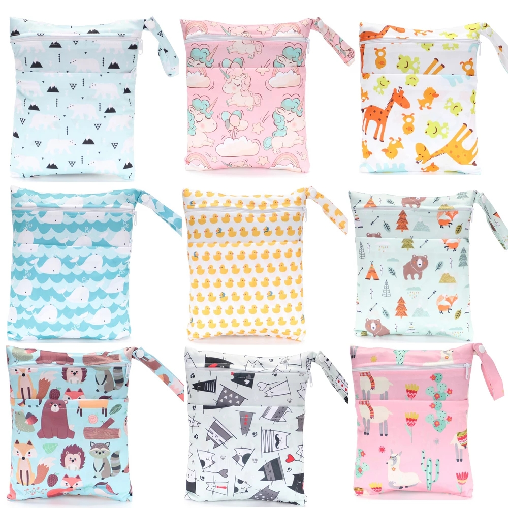 Baby Diaper Bags TPU Cartoon Printed Waterproof Double Zipper Wet Nappy Diaper Bags Pail Liner Laundry for Cloth Diapers 30*36cm