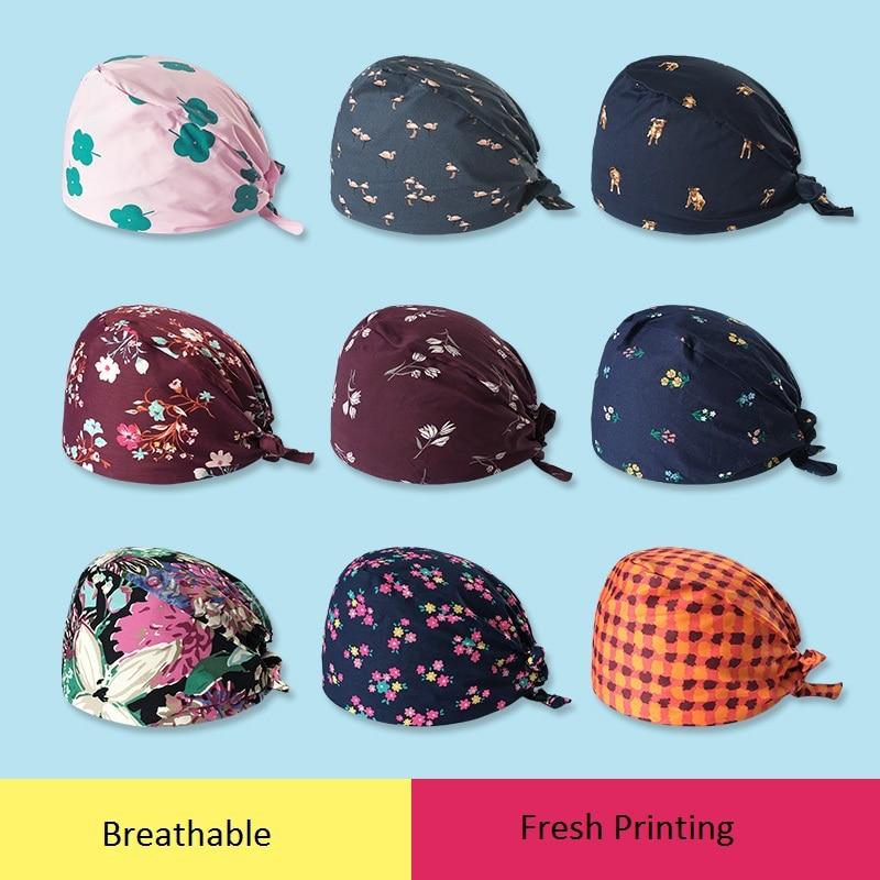 New Medical Cap Westerne Printing Surgical Cap Doctor Nurse Work Cap 100%Cotton Fashion Breathable Fabric Men Women