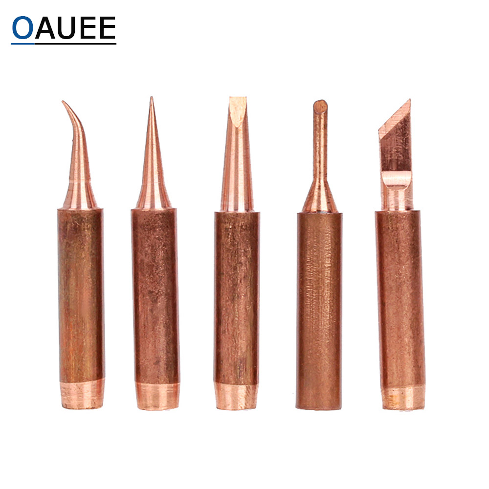 Oauee 5pcs Pure Copper Lead-free 900M-T-K Soldering Iron Tip For Soldering Rework Station