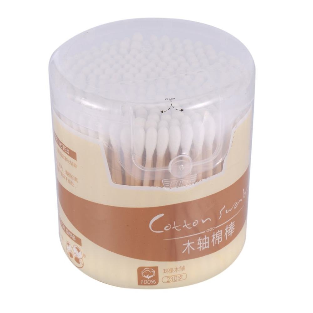 230Pcs/box Natural Cotton Swabs Double Head Wood Sticks Nose Ears Cleaning Health Care Cotton Buds Cosmetics Tool
