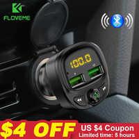 FLOVEME USB Chargeur de voiture pour téléphone sans fil rapide Bluetooth Fm transmetteur mains libres Chargeur MP3 TF carte musique voiture Kit