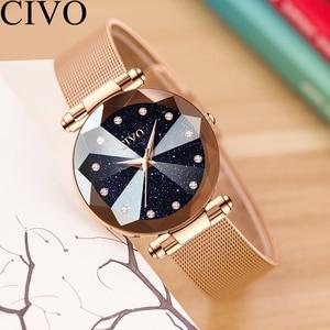 Image 4 - CIVO Fashion Luxury Ladies Crystal Watch Waterproof Rose Gold Steel Mesh Quartz Women Watches Top Brand Clock Relogio Feminino