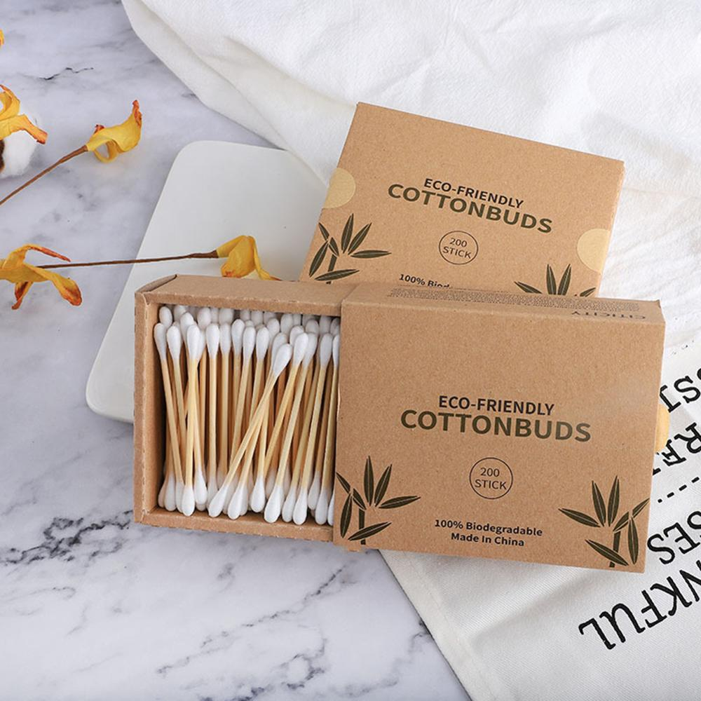 100/200/300pcs New Head Cotton Swab Bamboo Cotton Swab Wood Sticks Disposable Buds Cotton Nose Ears Cleaning Tool