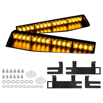 (Yellow) 32LED Visor Lights 15 Flash Patterns Emergency Strobe Lights Windshield Split Mount Light Bar Law Enforcement Hazard Wa