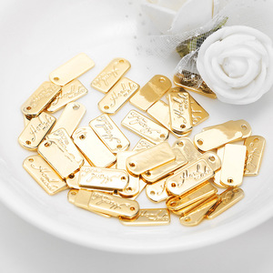 20PCS 5.5x12MM Hole 0.5MM 24K Gold Color Brass Rectangle Handmade Charms Pendants High Quality Diy Jewelry Findings Accessories