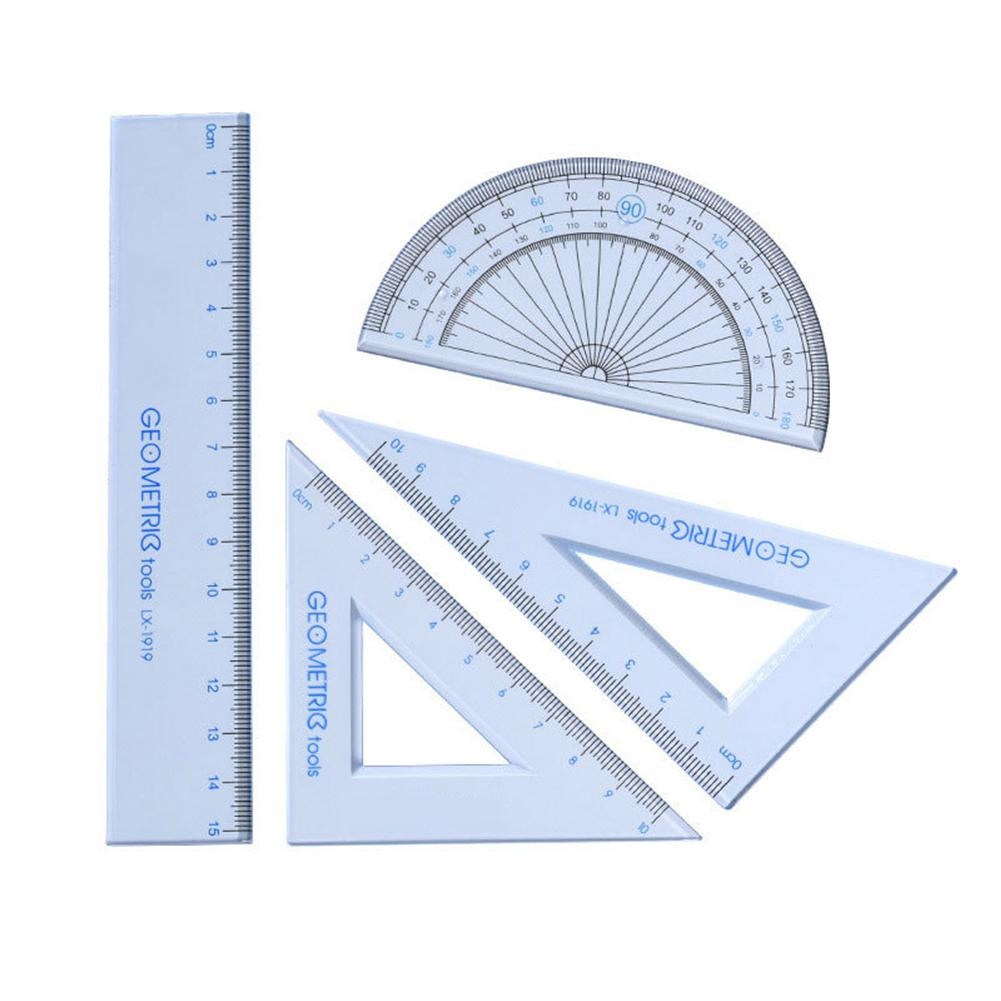 4 Pieces/ 1 Pack Of Drawing School Supplies For Students Set Square Triangle Ruler Protractor / Four Sets