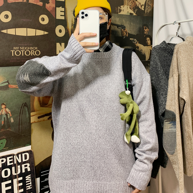 Winter Sweater Men's Warm Fashion Hit Color Casual O-neck Knitted Pullover Men Loose Knitting Sweaters Male Sweter Clothes M-2XL