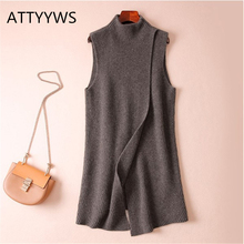 Autumn and winter new cashmere knit vest female long loose half-high round neck coat vest warm and soft sleeveless pullover black high neck knit vest