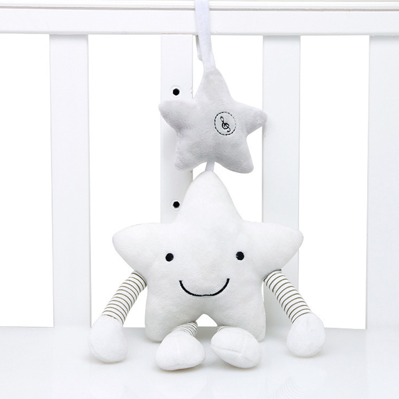 Free Shipping Baby Toys For Stroller Music Star Crib Hanging Newborn Mobile Rattles On The Bed Babies Educational Plush Toys