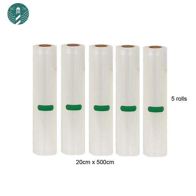 5 Rolls/Lot Vacuüm Voedsel Zak Voor Keuken Vacuüm Opbergzakken Verpakking Film Houden Verse 20 Cm * 500cm