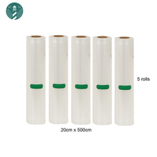 5 Rolls/Lot Vacuum Food Bag for Kitchen Vacuum Storage Bags Packing Film Keep Fresh 20cm*500cm
