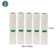 5 Rolls/Lotto Vuoto Sacchetto di Cibo per La Cucina di Vuoto Borse Contenitore di Imballaggio Pellicola di Mantenere Fresco 20 Cm * 500 Centimetri