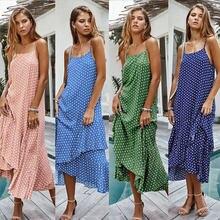 Женское платье комбинация в горошек с открытыми плечами и воланом